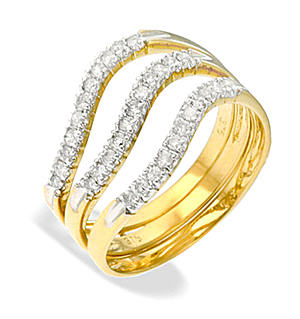 9K Gold Three Row Claw Set Diamond Ring