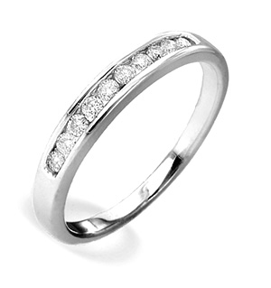 18K White Gold Diamond Channel Set Half Eternity Ring