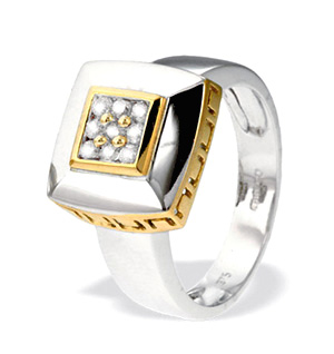 9K White Gold Square Diamond Ring