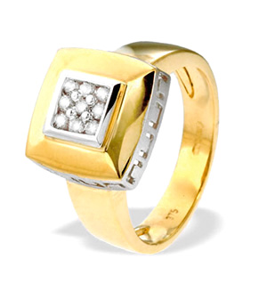 9K Gold Square Diamond Ring