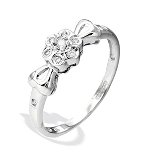 9K White Gold Diamond Ribbon Detail Ring (0.10ct)