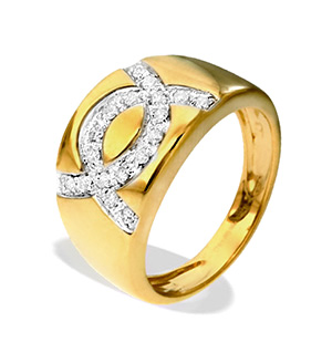 9K Gold Diamond Design Ring(0.22ct)