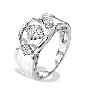 9K White Gold Diamond Design Ring(0.24ct)