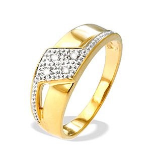 9K Gold Diamond Design Ring(0.04ct)