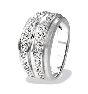 9K White Gold Two Row Diamond Ring