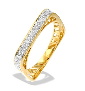 9K Gold Diamond Square Ring