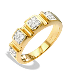 9K Gold Diamond Design Ring (0.25ct)