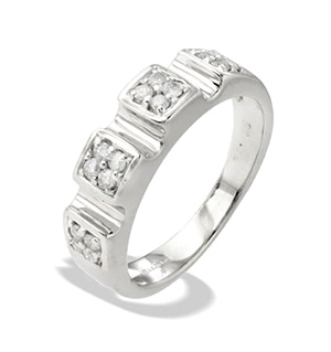 9K White Gold Diamond Design Ring (0.25ct)