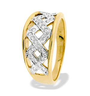 9K Gold Diamond Weave Ring(0.24ct)