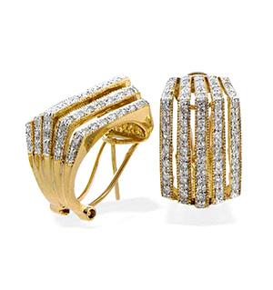 9K Gold Diamond Five Row Box Style Earrings