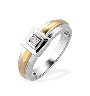 9K 2-Tone Single Stone Diamond Ring (0.07ct)