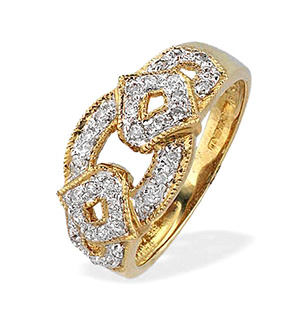 9K Gold Diamond Detail Ring (0.20ct)