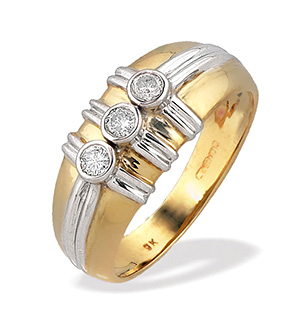 9K Two Tone Three Stone Diamond Ring (0.20ct)