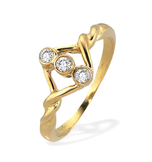 9K Gold Three Stone Diamond Twist Design Ring