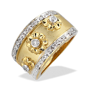 9K Gold Diamond Flower Design Ring