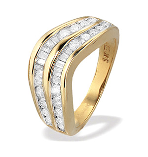 9K Gold Baguette and Brilliant Diamond Channel Set Eternity Ring