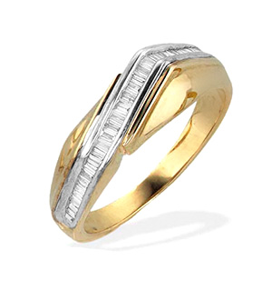 9K Gold Diamond Channel Set Baguette Ring (0.25ct)