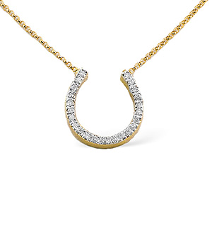 9K Gold Diamond Horseshoe Necklace 0.25CT