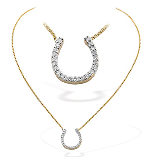9K Gold Diamond Horseshoe Necklace 0.50CT