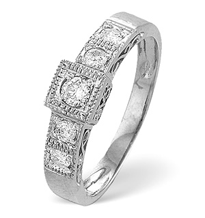 9K White Gold Diamond Detail Ring 0.31CT