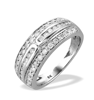 9K White Gold Diamond Three Row Channel Set Ring