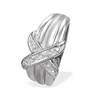 9K White Gold Diamond Crossover Ring (0.07ct)