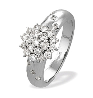 9K White Gold Diamond Cluster Ring (0.75ct)