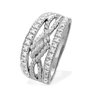 9K White Gold Diamond Rope Detail Ring