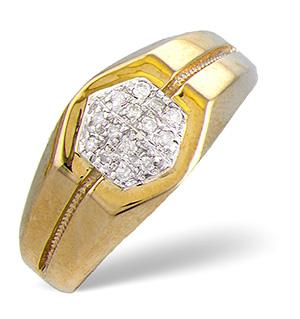 Mens Ring 0.16CT Diamond 9K Yellow Gold