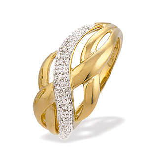 9K Gold Diamond Weave Ring (0.03ct)