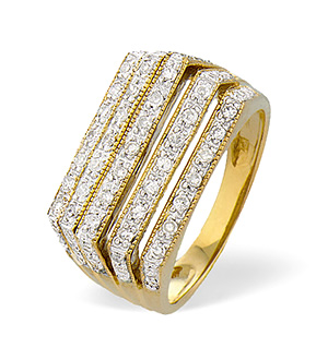 9K Gold Diamond Five Row Box Style Ring