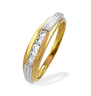 9K Gold Diamond Channel Set Ring with White Gold Detail