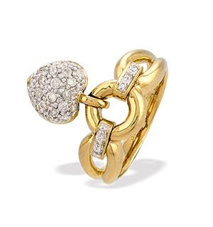 9K Gold Ladies Dangling Heart Diamond Ring (0.35ct)