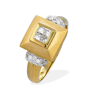 9K Gold Princess Cut Square Diamond Ring