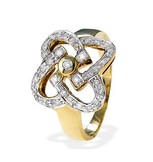9K Gold Diamond Detail Ring (0.25ct)