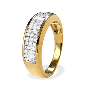 9K Gold Princess and Baguette Diamond Eternity Ring