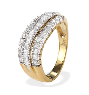 9K Gold Baguette and Brilliant Diamond Eternity Wave Ring