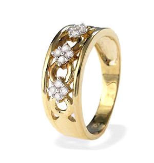 9K Gold Wide Ornate Diamond Ring 0.16CT