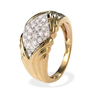 9K Gold Diamond Pave Ring (0.40ct)