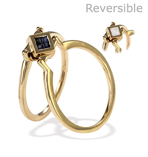 9K Gold Diamond Sapphire Reversable Ring