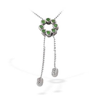 9K White Gold Diamond Emerald Flower Necklace (0.16 E0.34ct)