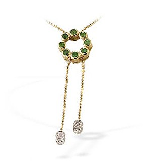 9K Gold Diamond and Emerald Drop Necklace