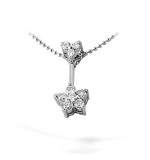 9K White Gold Diamond Cluster Drop Necklace