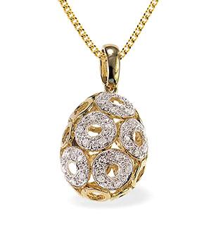 9K Gold Diamond Small Egg Circle Detail Pendant