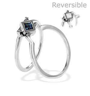 9K White Gold Diamond and Sapphire Reversable Ring