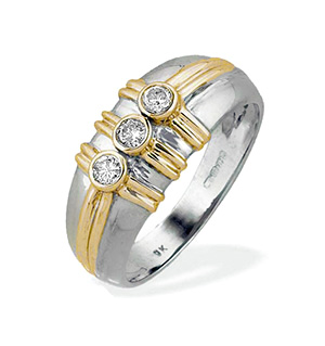 9K White Gold Three Stone Diamond Ring with Gold Detail