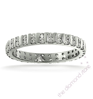 ELLIE 18K White Gold DIAMOND FULL ETERNITY RING 0.50CT G/VS