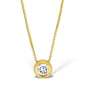 9K Gold Diamond Single Stone Rubover Necklace