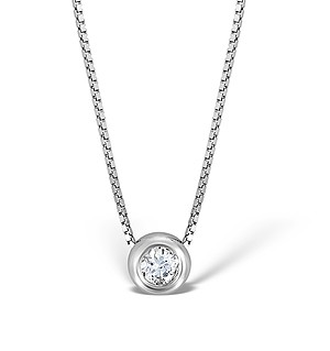 9K White Gold Diamond Single Stone Rubover Necklace