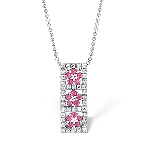 9K White Gold Diamond and Ruby Flower Design Necklace